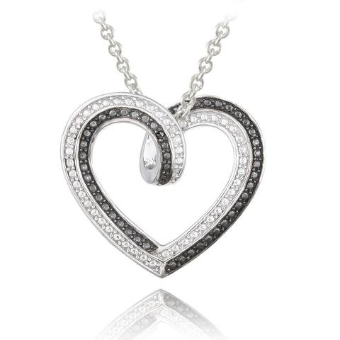 Black & White Diamond Heart Reversible Necklace