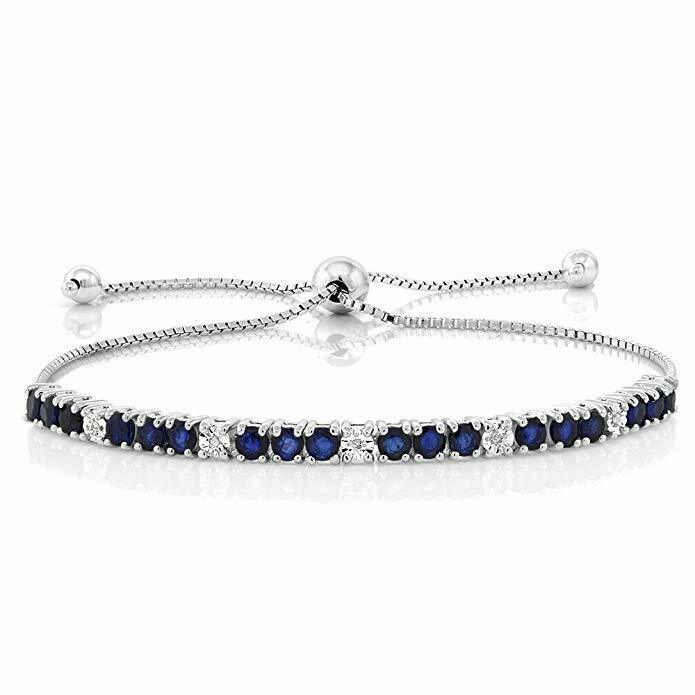 XOXO Tennis Bracelet with Blue in 18K White Gold Plated, 7 1/4