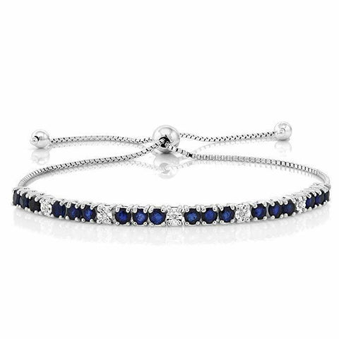 XOXO Tennis Bracelet with Blue in 18K White Gold Plated, 7 1/4""