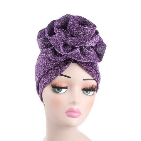 Beautiful Women Flower Headdress Turban Cap Bonnet Muslim Hair Fashion Accessory