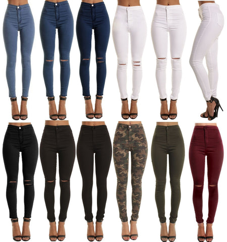 SKINNY HIGH WAISTED JEANS JEGGINGS WOMENS SLIM STRETCHY FULL LENGTH PANTS