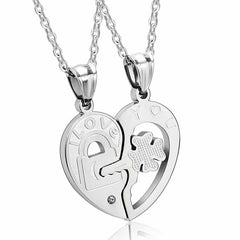 Stainless Steel I Love You Heart Lock & Key Couple Pendant Necklace