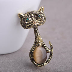 Vintage Opal Cat Eye Brooch Pins