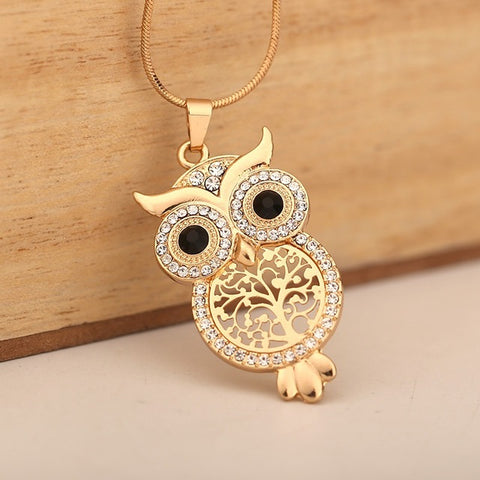 Chic Vintage Owl Tree Of Life Pendant Necklace
