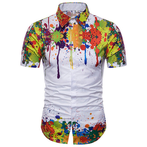 Men's Designer Colorful Splatter Paint Pattern Print Shirt