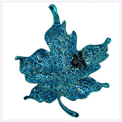 Classic Maple Leaf Crystal Rhinestone Brooches