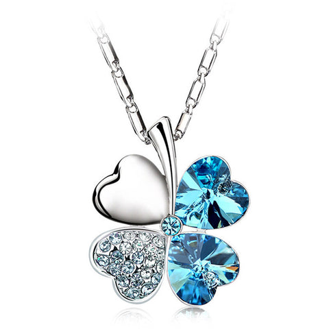 Heart Silver Crystal Clover Charm Necklace - Free + Shipping