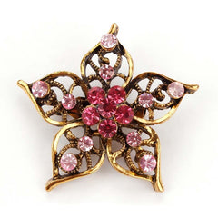 Antique Flower Rhinestone Brooches