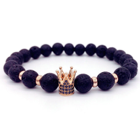 Trendy Lava Stone Imperial Crown Charm Bracelets For Men And Women