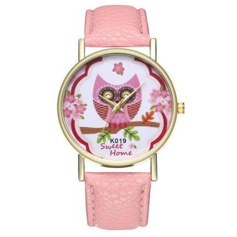 FREE Women's Fashion Owl Leather Band Watches