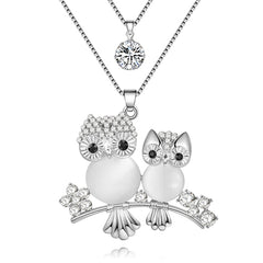Women Owl Crystal Necklace Pendant