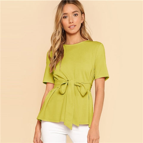 Women Short Sleeve Blouses With Bow Belt