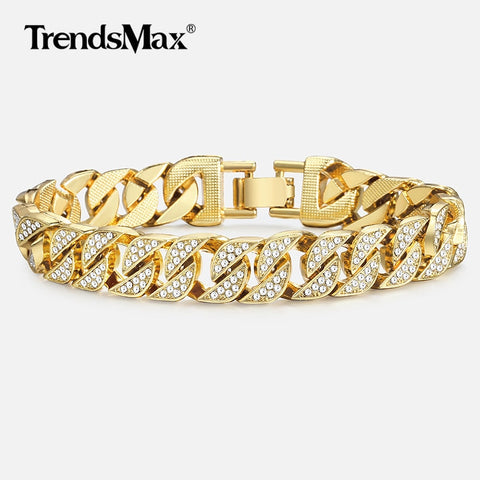 Miami Curb Cuban Chain Bracelet For Men Gold