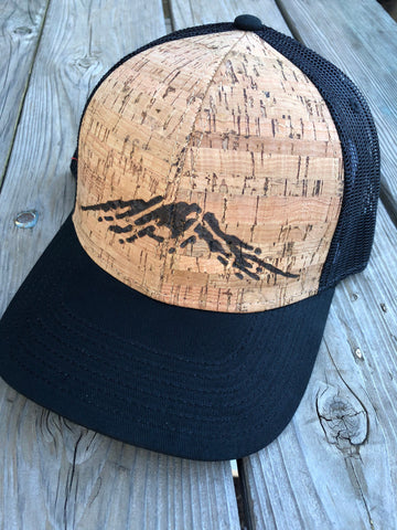 Mt Bachelor Mountain Cork Hat - Wood-Burned Designed on Cork Wood Trucker Hat!