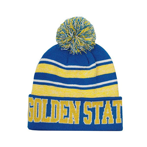 c268276d56f7e Golden State Men s Blended Stripe Winter Knit Pom Beanie Hat (Royal Gold)