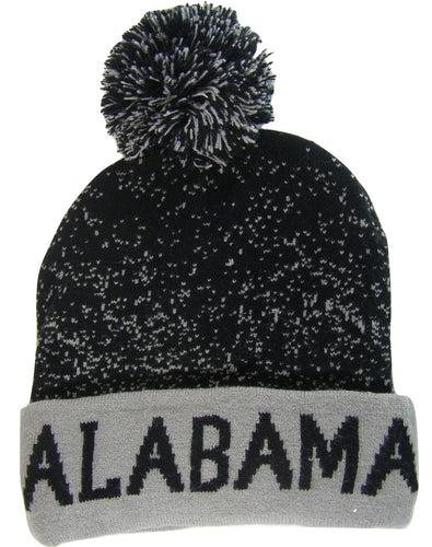 low priced b337c 9f8d1 Alabama Adult Size Double Full Winter Knit Pom Beanie Hats (Black Gray)