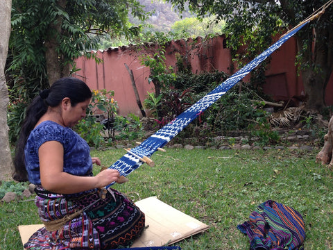 Mayan Back Strap Artisan Working