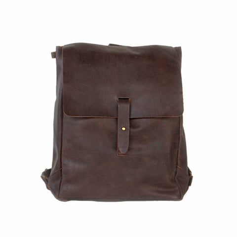990e70468b0f1 Brown unbuckle leather backpack
