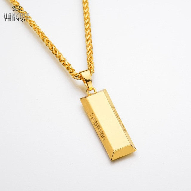 Gold cube bar necklace pendant inspirationalpowerhouse gold cube bar necklace pendant mozeypictures Images