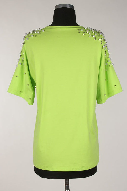 Neon Green With Envy Pearl Detail Tshirt Top