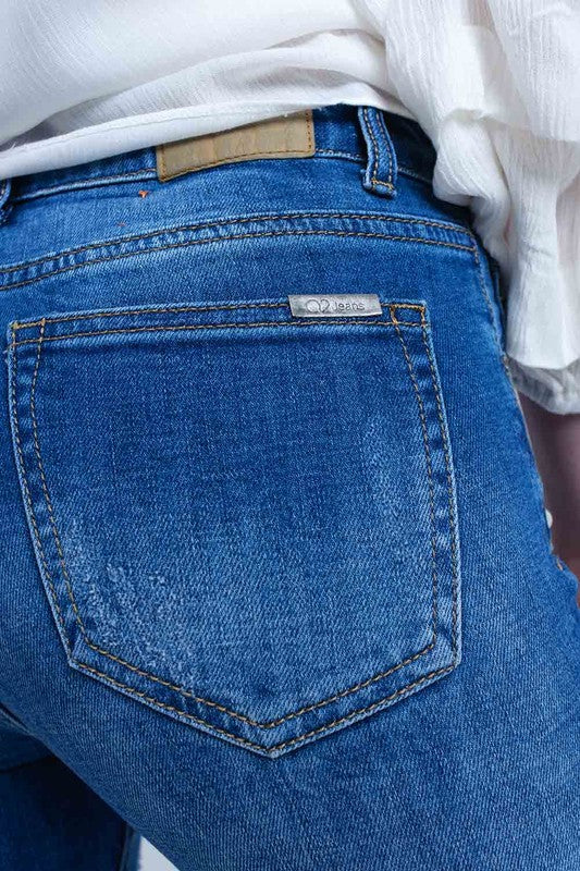 Perfect in Pearls Medium Denim Destroyed Jeans