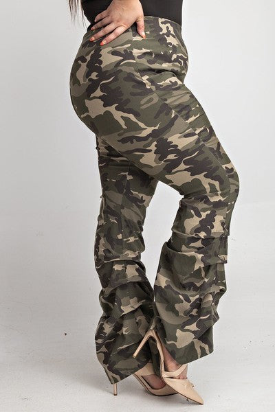 Washed Fatigue Camo Scrunched Stacked Leg Pants - PLUS
