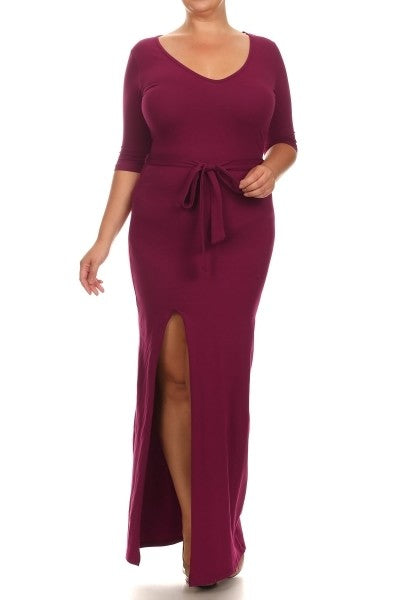 Sexy Diva Burgundy High Split Maxi PLUS