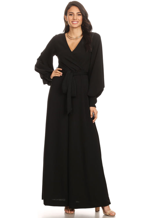 Elegantly Beautiful Black Chiffon Long Bubble Sleeve Jumpsuit