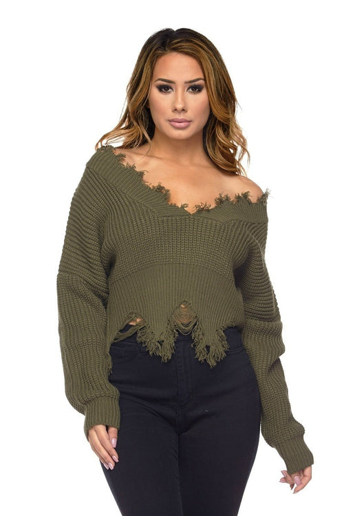 Olive Distressed Crop Sweater