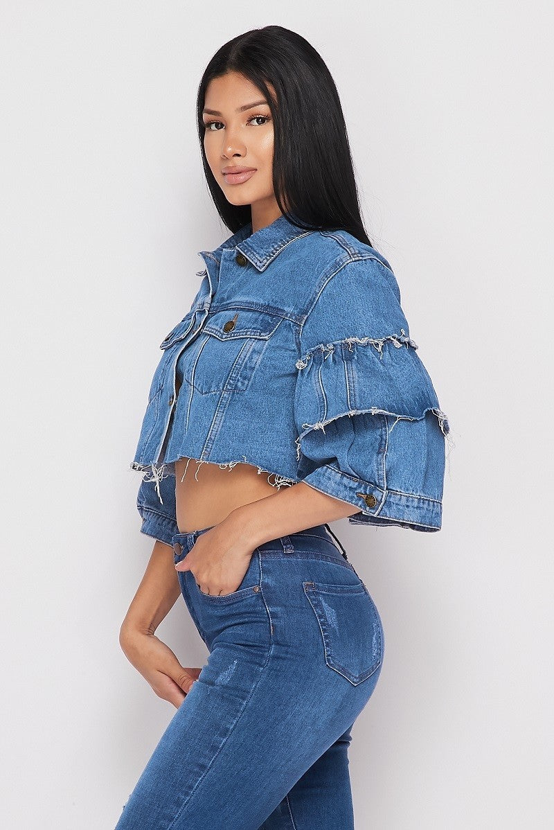 Ruffle Short Sleeve Crop Jacket - jacket