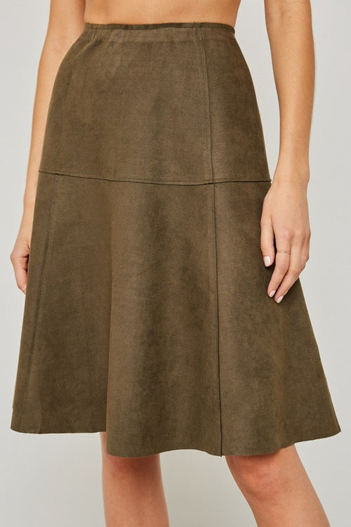 Olive Faux Suede Flare Midi Skirt - skirt