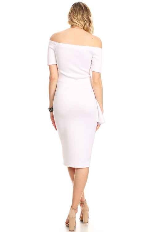 White Fan Detail Off Shoulder Bodycon Midi Dress - REG & PLUS