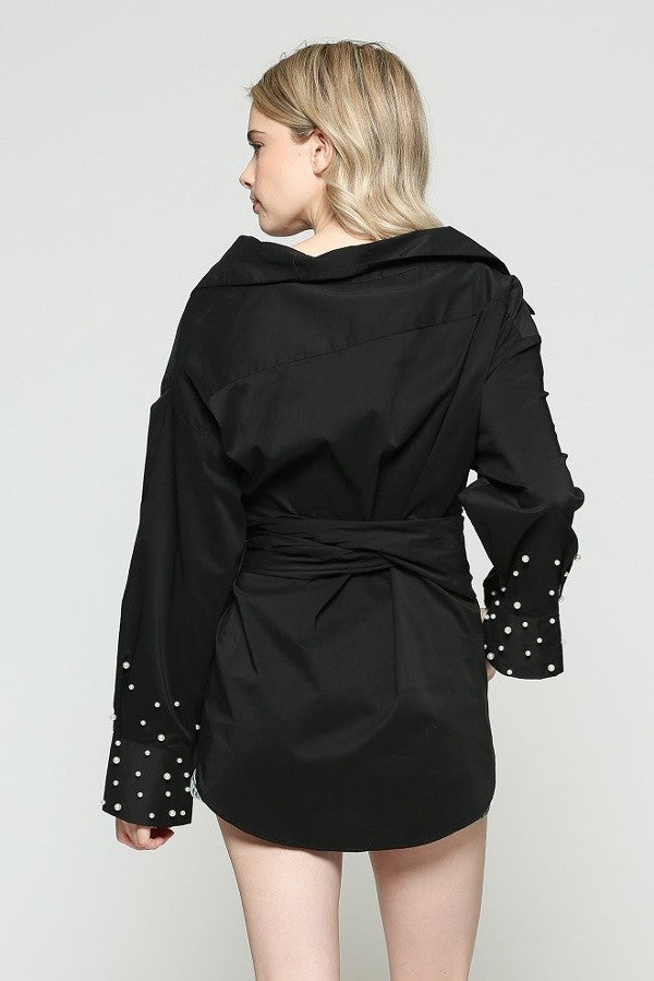 Black Wrap Tie Blouse Top with Pearl Cuffs - TOP