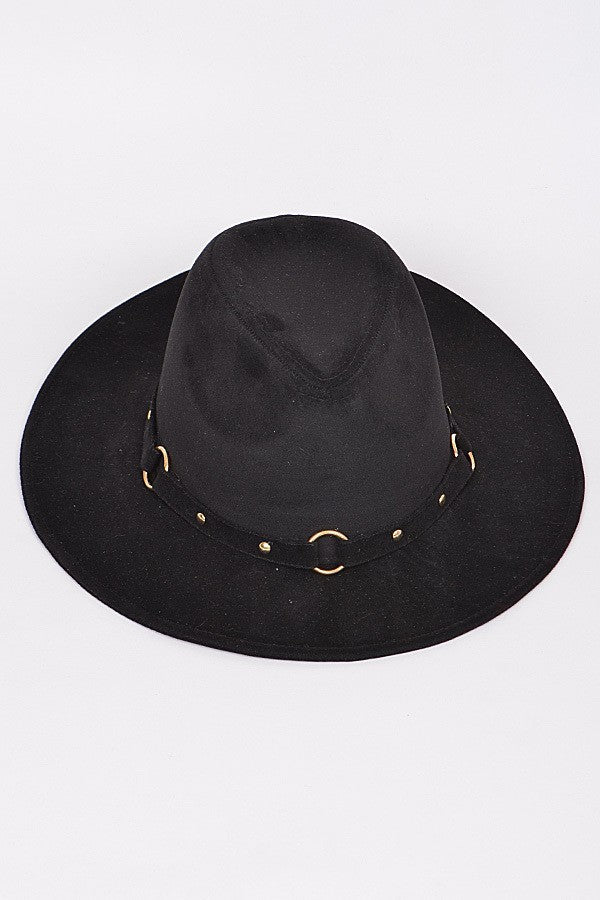 Black Cowboy Style Suede Fedora with Grommet Belt Detail ... 99701dd0ee7