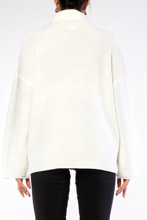 Winter White Hi Lo Chunky Knit Turtleneck Sweater - SWEATER