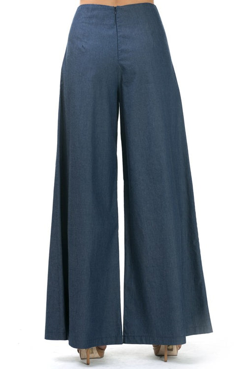 Chambray Dark Denim Wide Leg Pants - PLUS
