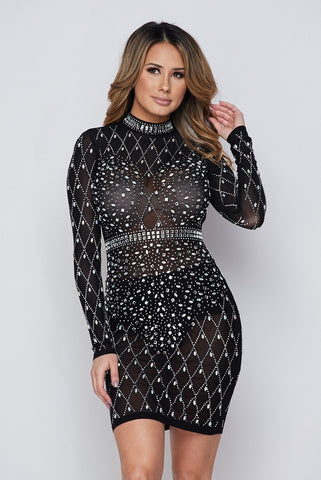 e2e08311bbb Black Iridescent Silver Rhinestone Studded Long Sleeves Dress.  110.00. Be  Still My Heart Red Cold Shoulder Ruffle ...