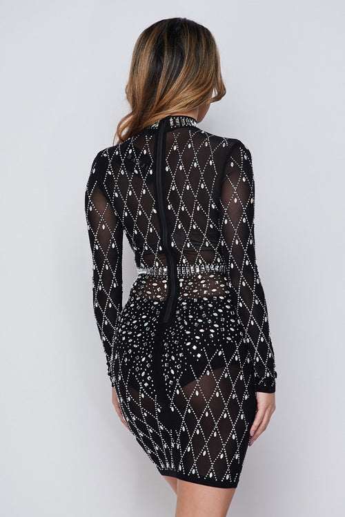Black Iridescent Silver Rhinestone Studded Long Sleeves Dress