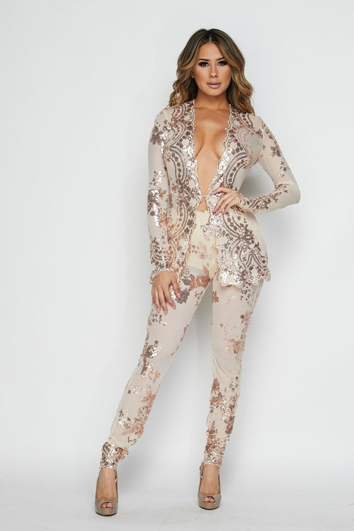 Illusion Is Everything Nude & Rose Gold Sequin Lace Sheer Pant Suit Set - set