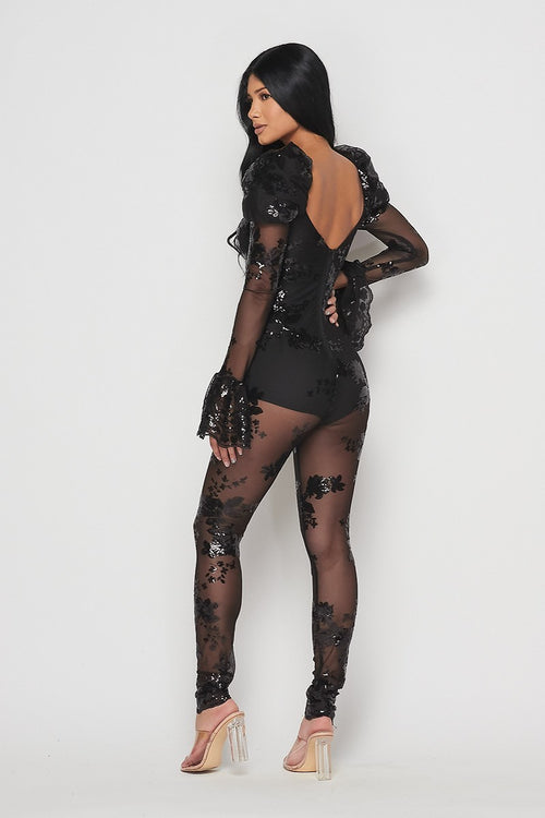 Black Butterfly Mesh Sequin Puffed Shoulder Jumpsuit