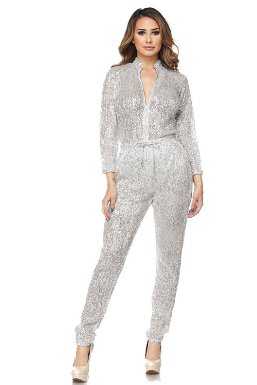 Shine Bright Like A Diamond Silver Sequin Jumpsuit