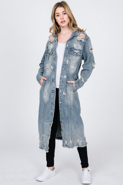 Out And About Maxi Distressed Denim Coat
