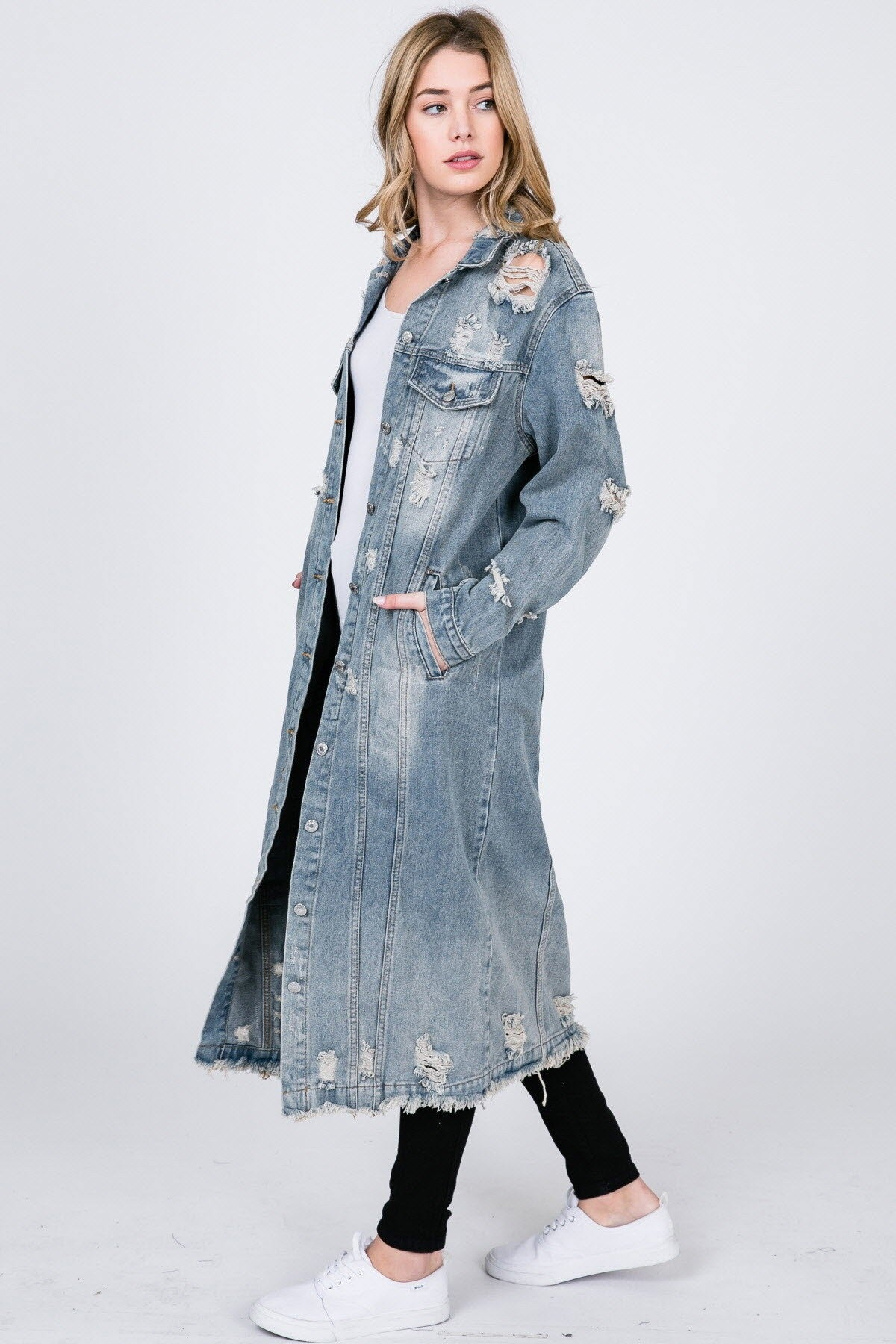 Out And About Maxi Distressed Denim Coat - jacket