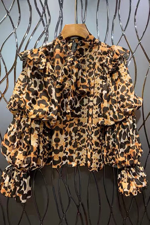Into the Wild Leopard Bubble Sleeve Bow Tie Blouse Top