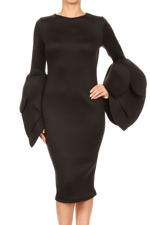 Tallula Tulip Long Sleeve Ruffle Black Dress . - PLUS