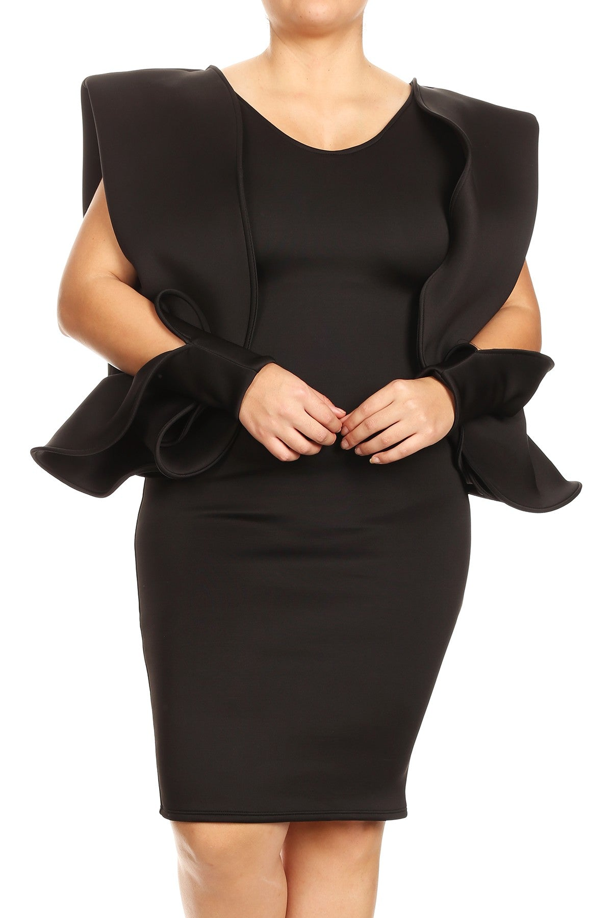 Ramona Structured Ruffle Black Dress - PLUS - DRESS