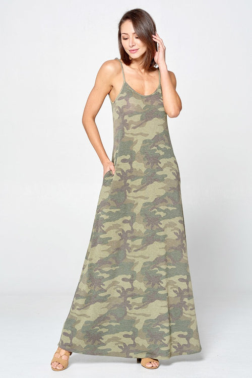 Washed Camo T-Strap Maxi Sundress