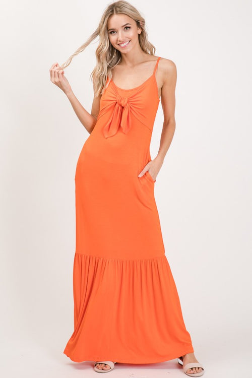 Fancy Me Tangerine Orange Maxi SunDress