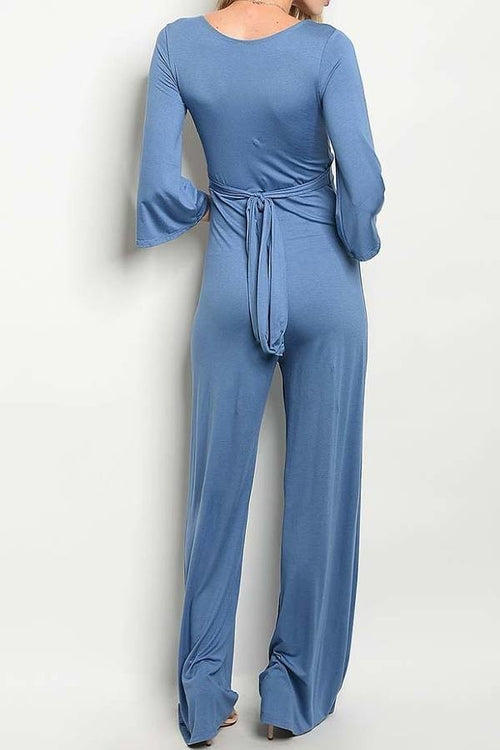 Jersey Knit Low V Neck Wide Leg Jumpsuit