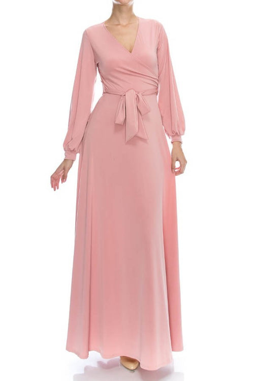 Ballerina Blush Wrap Maxi Dress